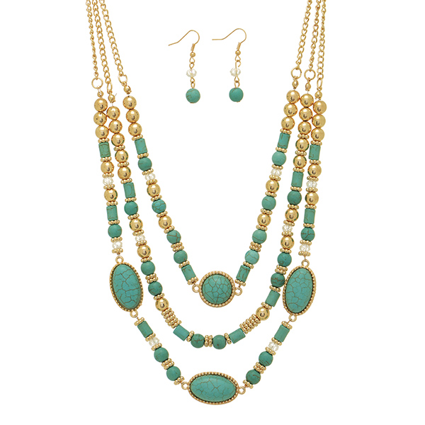 "14"" - 20"" Gold tone necklace turquoise tone beads & earrings"