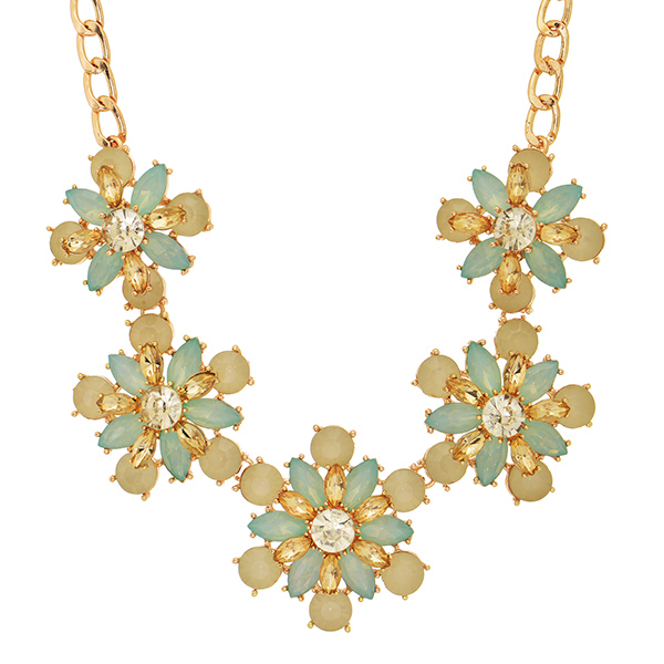 "16"" Gold tone necklace with a mint & ivory tone floral focal"