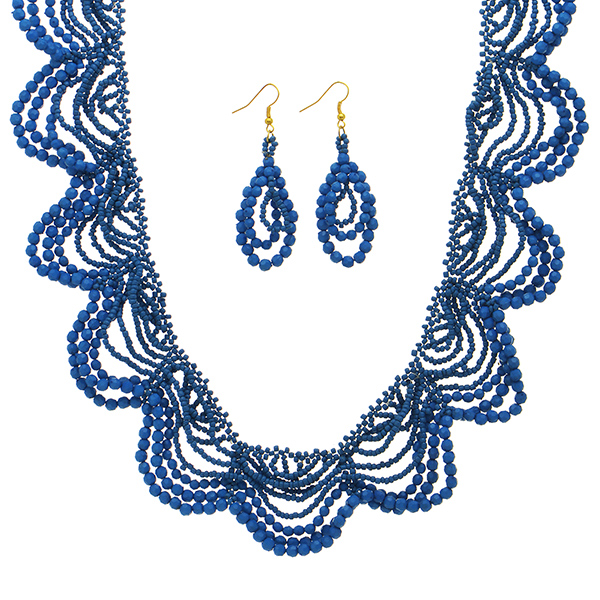 "18"" Cobalt tone necklace seed bead lace bib design & earrings"