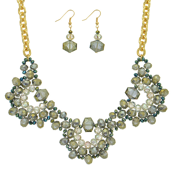 "16"" Gold tone necklace gray tone glass beaded focal & earrings"