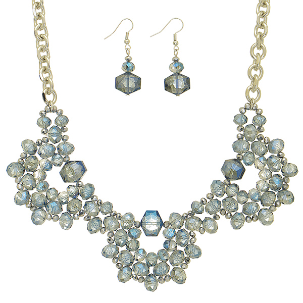 "16"" Silver tone necklace blue tone glass beaded focal & earrings"
