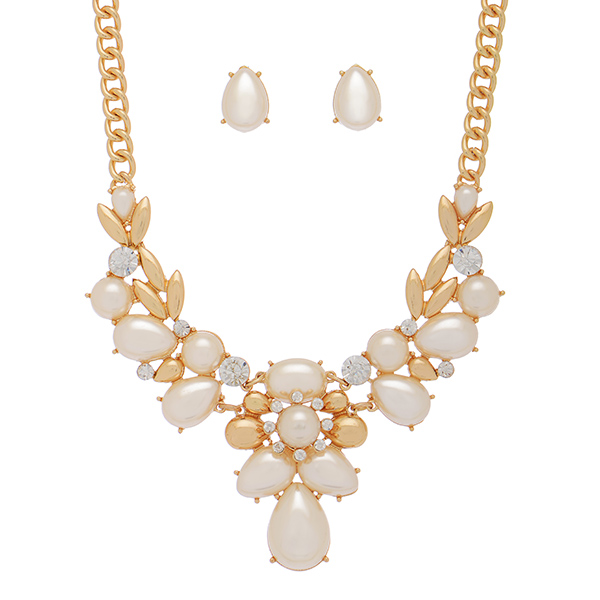 "20"" Whimsical cream tone pearl necklace set"