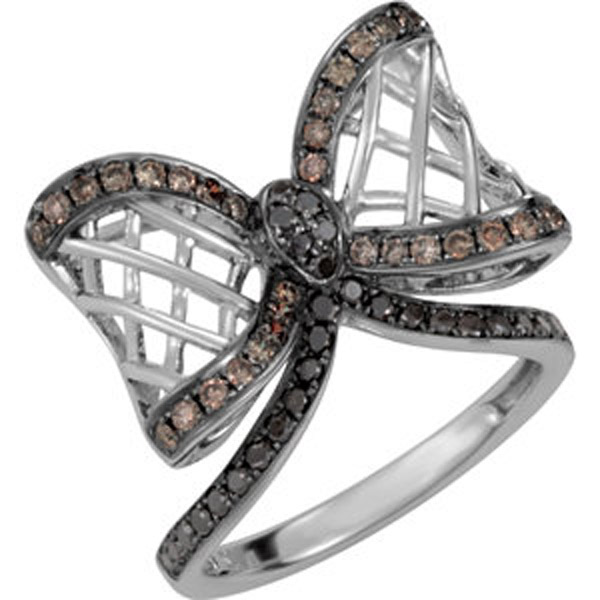 5/8 ct tw Black & Brown/Chocolate Diamond Bow Ring