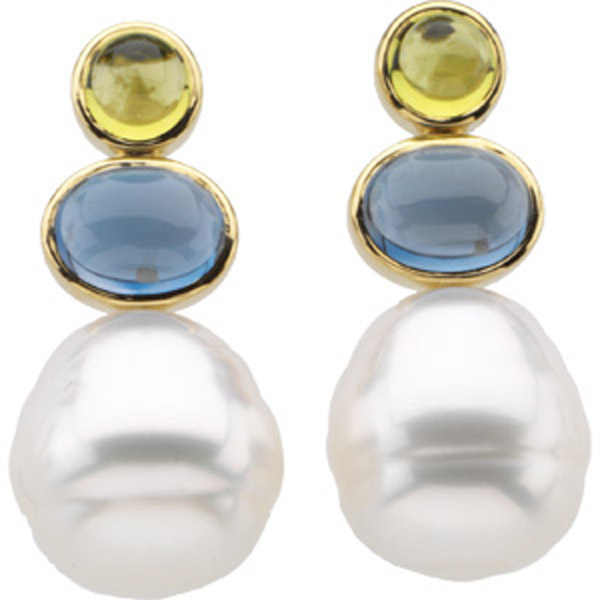 South Sea Cultured Pearl, Peridot & Topaz Earrings