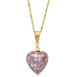 "Youth Pink Mother of Pearl Heart 15"" Necklace"