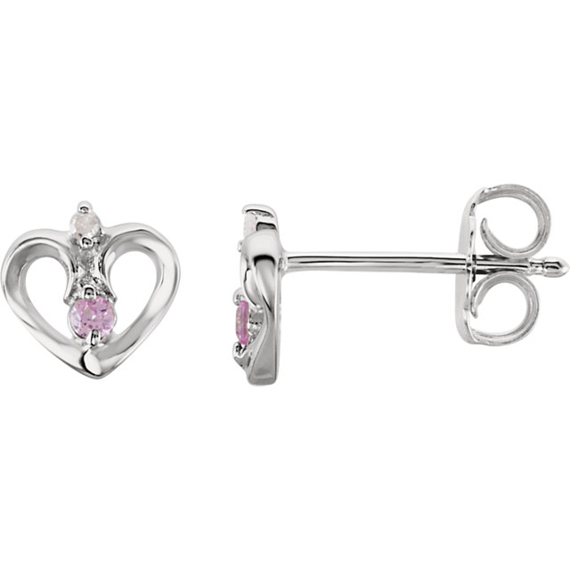 Sterling Silver Pink Sapphire & .01 CTW Diamond Heart Earrings