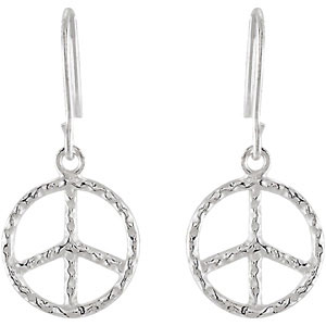 Youth Hammered Peace Sign Earrings
