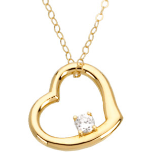 "Youth Floating Heart with CZ 16"" Necklace"