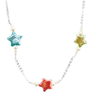 "Triple Star and Pearl Petite 16"" Necklace"