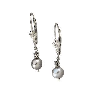 LEVER BACK EARRING WITH GREY PEARL