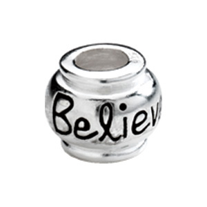 "Kera™ Sterling Silver ""Believe"" Expression Bead"