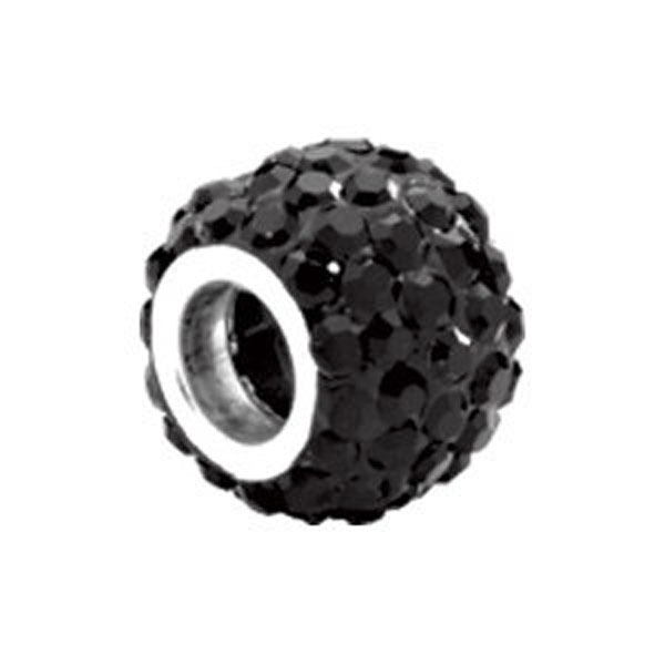 Kera™ Roundel Bead with Pave' Jet Crystals