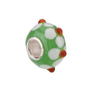Kera™ Green with White/Orange Flower Glass Bead