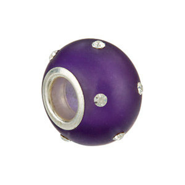 Kera™ Glass Purple Bead with Crystal Accents