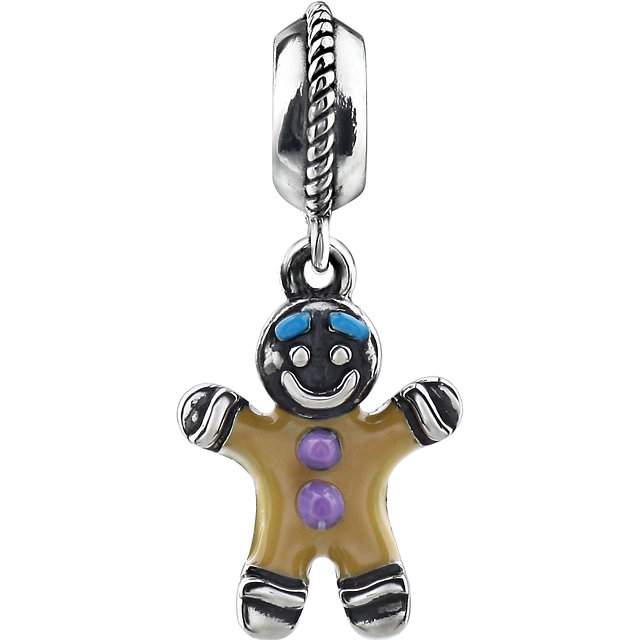 Sterling Silver 15.2x11mm Gingerbread Dangle