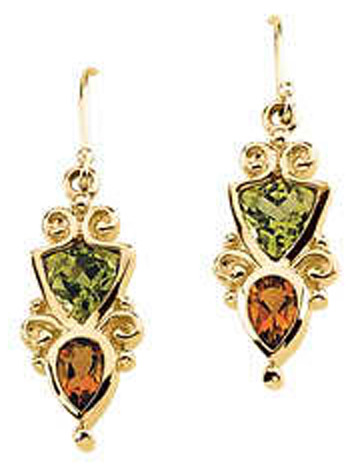 Genuine Peridot and Citrine Earrings