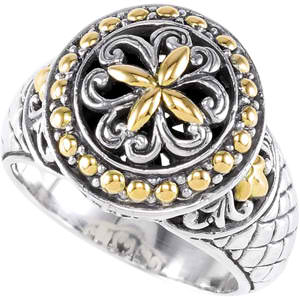 07905 Sterling Silver Fashion Ring with 18KT Yellow Accents
