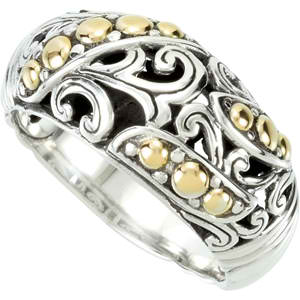 89905 Sterling Silver Fashion Ring with 18KT Yellow Accents