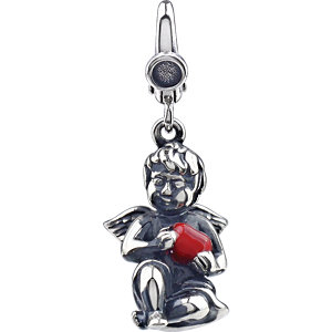 Angel Charm with Enamel Heart