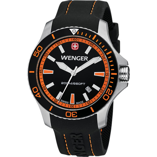 Wenger® Sea Force Black And Orange Dial W/Black Silicone Strap