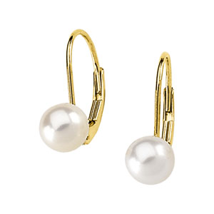 CULTURED PEARL LEVER BACK EARRINGS