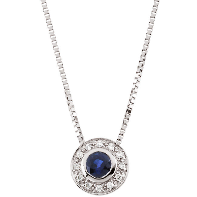 "18"" Genuine Blue Sapphire & Diamond Necklace (Round Shape)"