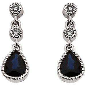 Genuine Blue Sapphire & Diamond Earrings 14K White