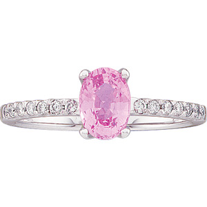Genuine Pink Oval Sapphire & Diamond Ring 1/6 ct tw