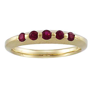14 KT ANNIVERSARY BAND GENUINE RUBY