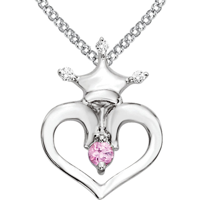 "Sterling Silv Pink Sapphire 02 CTW Diam Crown Heart 14-16"" neckl"
