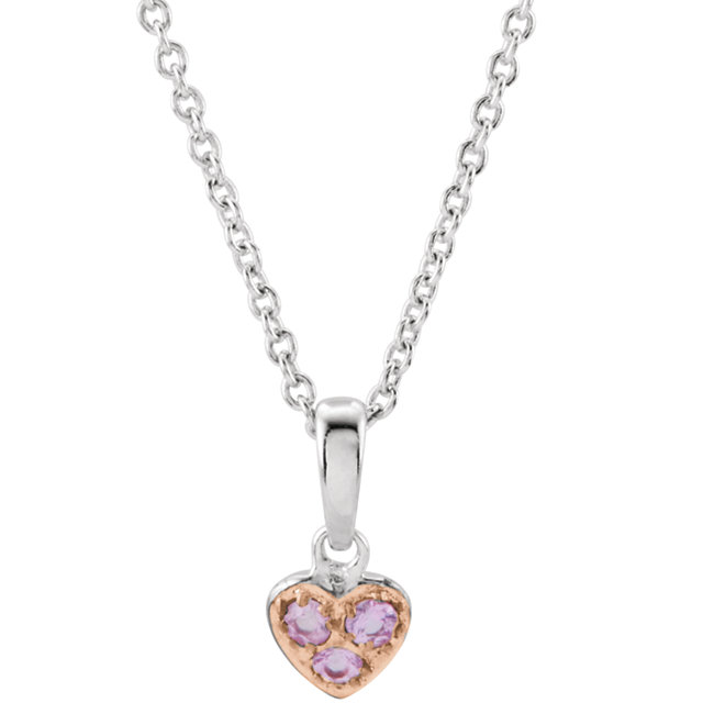 "Sterling Silver Pink Sapphire Heart 14-16"" Necklace"