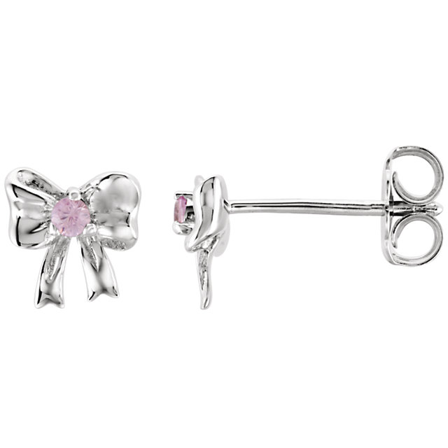 Sterling Silver Pink Sapphire Bow Earrings