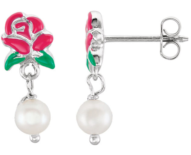 Sterling Silver Belle Enam Rose Freshwtr Cultured Pearl Earrings