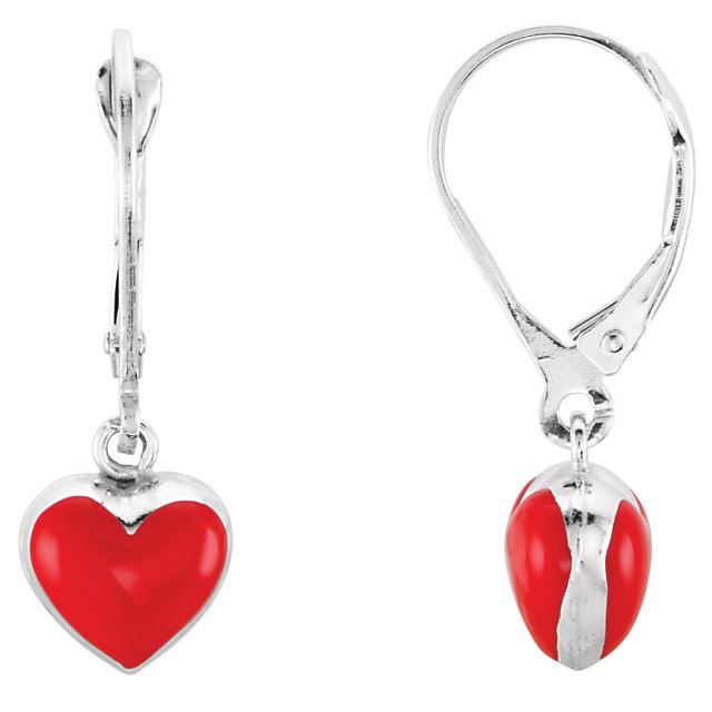 Sterling Silver Red Enamel Puff Heart Earrings