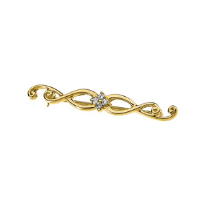 .08 ct tw Diamond Brooch 14K Yellow Gold
