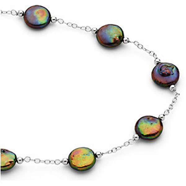 Freshwater Cultured Black Coin Pearl Necklace or Bracelet