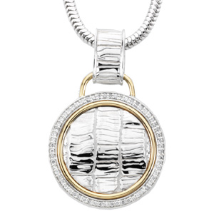 1/3 ct tw Diamond Necklace Sterling Silver & 14K Yellow