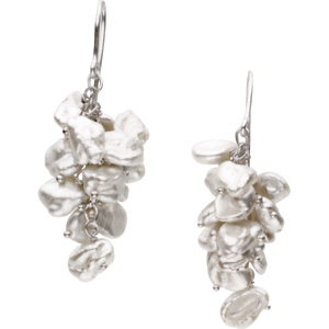 FRESHWATER KESHI WHITE CULTURED PEARL EARRINGS