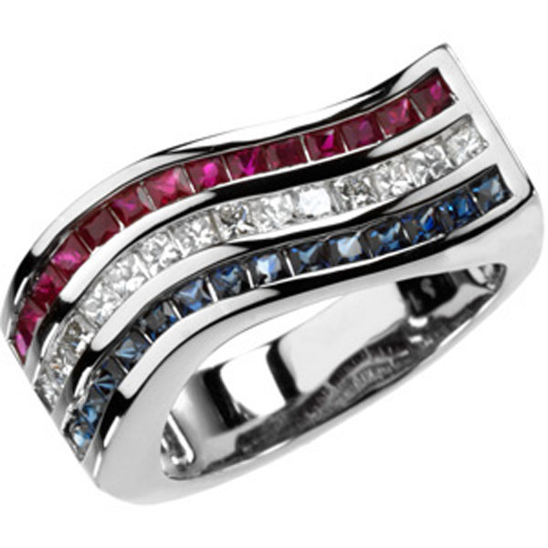Multicolor Gemstone & Diamond Ring 14K White Gold