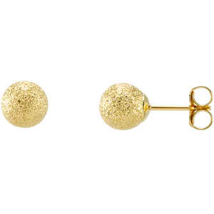 14K Yellow Gold Ball Earrings with a stardust finish