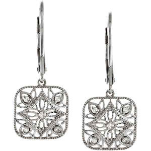 1/10 ct tw Diamond Leverback Earrings (Square)