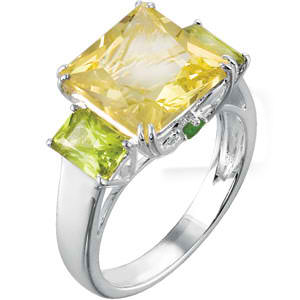 Genuine Lime Quartz, Peridot & Chrome Diopside Ring