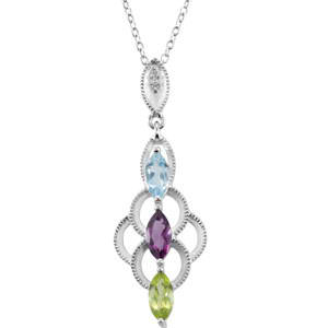 "Multi Gemstone 18"" Necklace (Genuine Amethyst, Peridot & Topaz)"