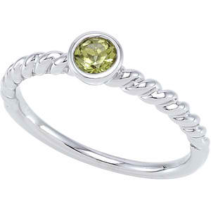Stackable Gemstone Ring (Genuine Peridot)