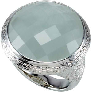 Sterling Silver Gemstone Ring (Genuine Milky Aquamar)
