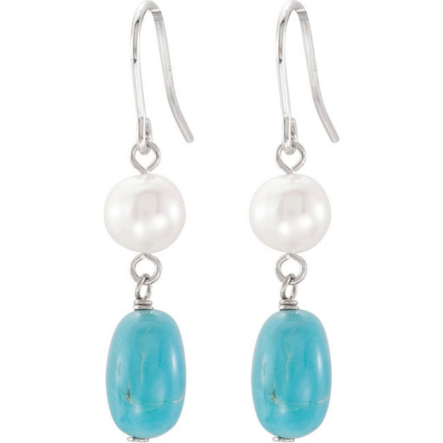 Freshwater Cultured Pearl & Genuine Turquoise Earrings