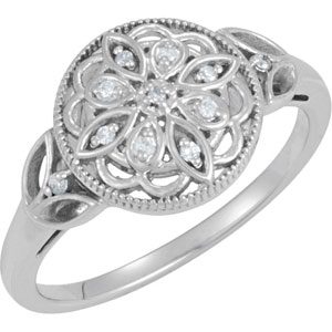 .06 ct tw Diamond - Sterling Silver Ring (Round)