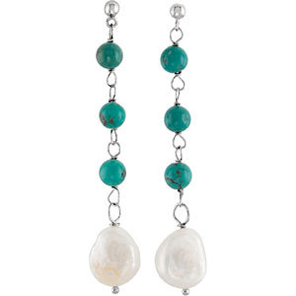 Freshwater Cultured Pearl & Turquoise Earrings