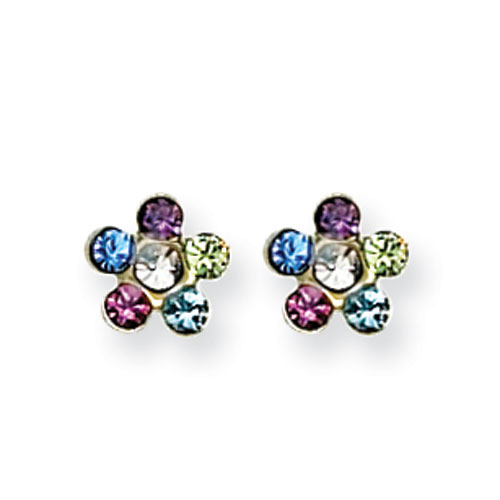 14K Rainbow Flower W/Multi-Crystal Stones Earrings