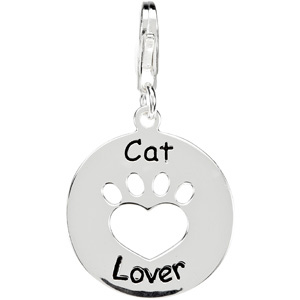 Heart U Back Cat Lover Paw Charm